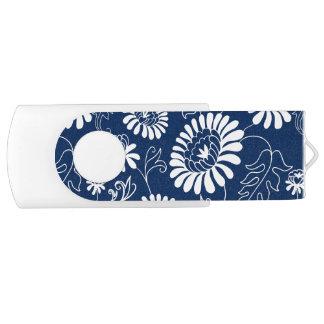 Vintage flowers on deep blue USB flash drive