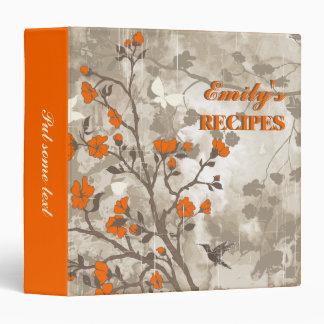 Vintage flowers orange, taupe floral recipe binder
