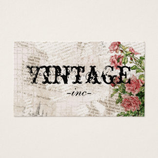 Vintage Flowers over Distressed Text Business Card
