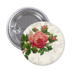 Vintage Flowers over Distressed Text Pin