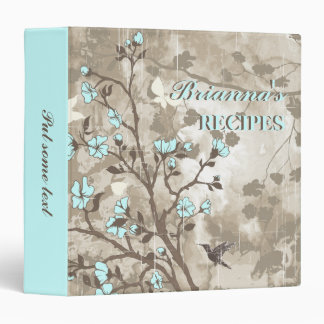 Vintage flowers pale blue, taupe floral recipe 3 ring binder
