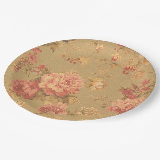 Vintage Flowers Paper Plate