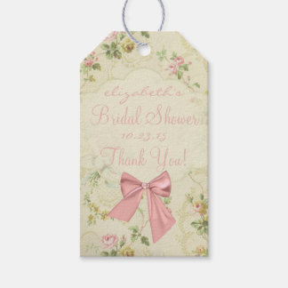 Vintage Flowers Peach Bow Bridal Shower Gift Tags