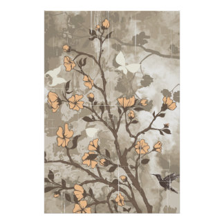 Vintage flowers peach, taupe floral grunge custom poster