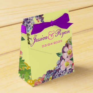 Vintage Flowers Personalized Wedding Party Favor Boxes