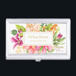 """Vintage Flowers Pink Pastel Business Card Holder<br><div class=""""desc"""">Pastel artwork based off of vintage floral card of 19th century. Pink,  coral,  green,  orange,  purple. Gold custom name (not real gold but color). Festive,  chic,  elegant,  classy. Suitable for many professionals (event planner is an example).</div>"""