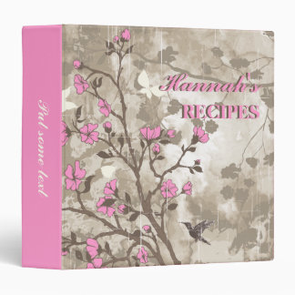 Vintage flowers pink, taupe floral recipe 3 ring binder