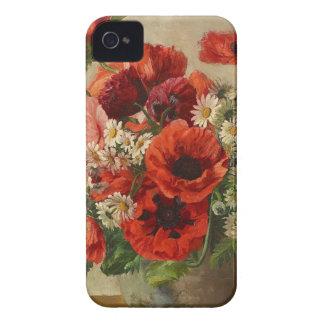 Vintage flowers, poppies iPhone 4 case