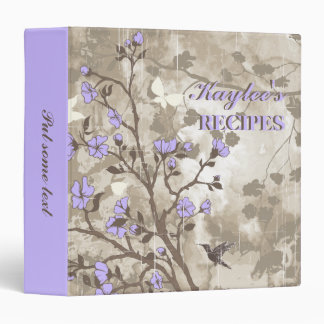 Vintage flowers purple, taupe floral recipe binder