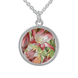 Vintage Flowers Red and Yellow Amaryllis Blossoms Round Pendant Necklace