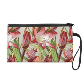 Vintage Flowers Red and Yellow Amaryllis Blossoms Wristlet