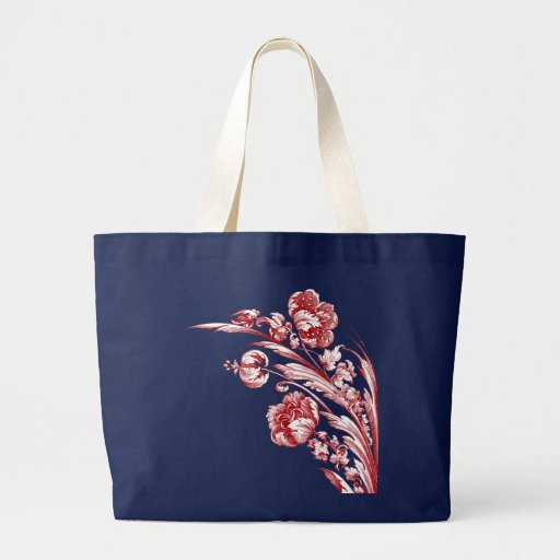 Vintage Flowers Red White And Blue Large Tote Bag | Zazzle