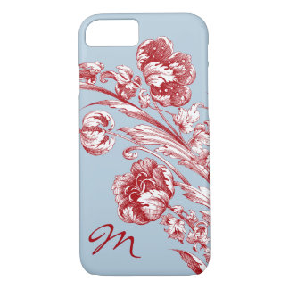 Vintage Flowers, Red, White and Blue, Personalized iPhone 7 Case