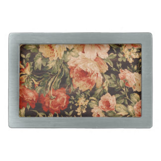 Vintage flowers rose texture 900s style rectangular belt buckle