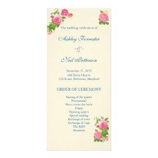 Vintage Flowers   Roses  Butterfly Wedding Program Custom Rack Card