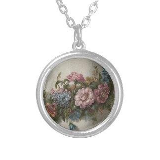 Vintage Flowers Round Pendant Necklace