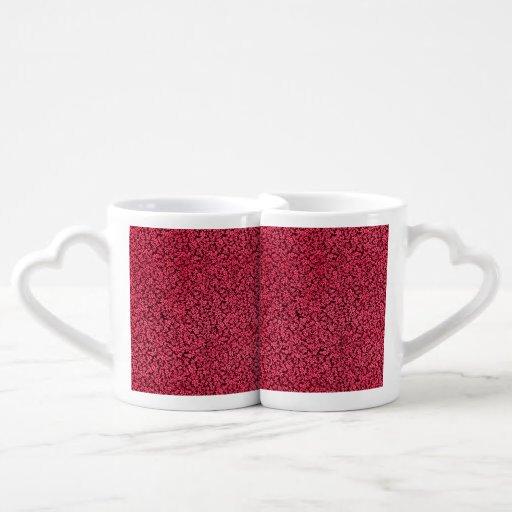 Vintage Flowers Ruby Cranberry Red Floral Lovers Mug Sets