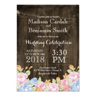 Vintage Flowers Rustic Barn Wood Wedding Invites
