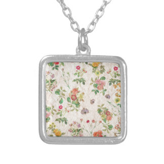 Vintage Flowers Silver Plated Necklace