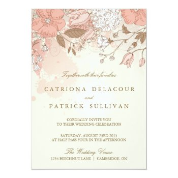 Vintage Flowers Spring Garden Wedding Invitation by misstallulah at Zazzle
