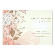 Vintage Flowers Spring Garden Wedding RSVP Card at Zazzle