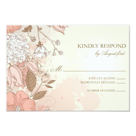Vintage Flowers Spring Garden Wedding Rsvp Card