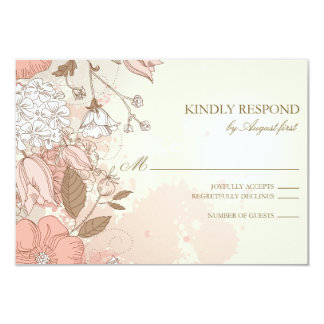 Vintage Flowers Spring Garden Wedding RSVP Card Personalized Invitation
