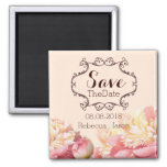 vintage flowers spring wedding save the date 2 inch square magnet