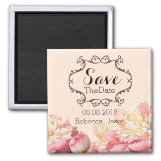 vintage flowers spring wedding save the date magnet