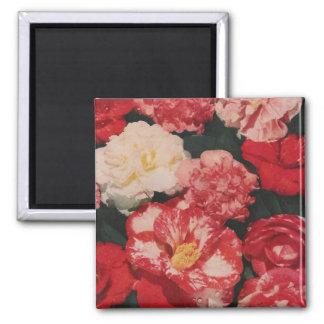 vintage flowers square magnet
