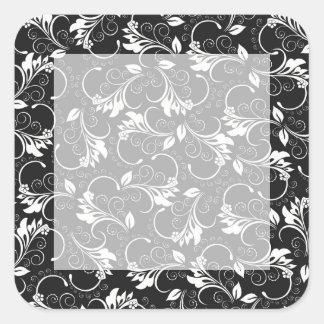 vintage flowers square sticker