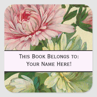 Vintage Flowers 'This Book belongs to' Sticker