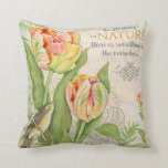 Vintage flowers throw pillow