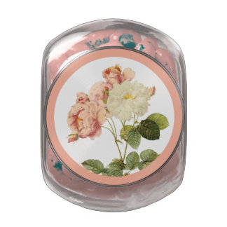 Vintage Flowers tins & jars 1 Glass Candy Jars