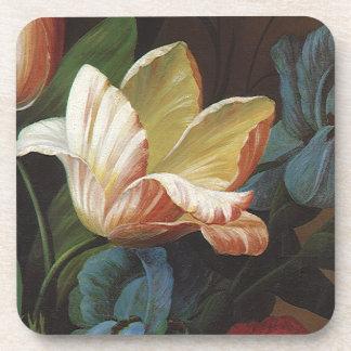 Vintage Flowers, Victorian Garden Tulip in Bloom Drink Coaster