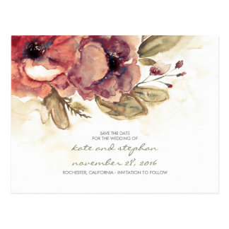 vintage flowers watercolor save the date postcards