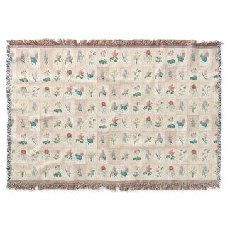 Vintage Flowers Watercolors Grandmother Blanket