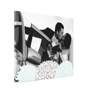 Vintage Flowers Wedding Photo Template Canvas