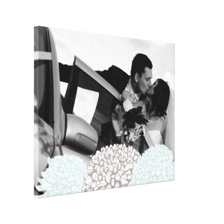 Vintage Flowers Wedding Photo Template Canvas Stretched Canvas Prints