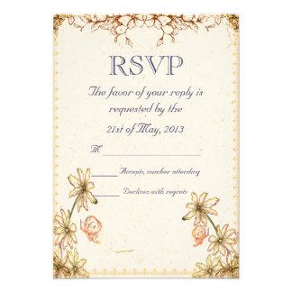 Vintage Flowers Wedding RSVP Custom Invite