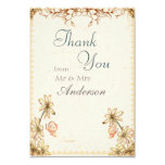 Vintage Flowers Wedding Thank You Card