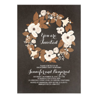 vintage flowers wreath brown engagement party card