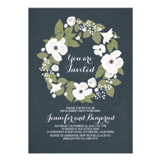 vintage flowers wreath fabulous engagement party card