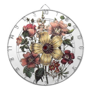 Vintage Flowers Yellow Peach Cranberry Dartboard