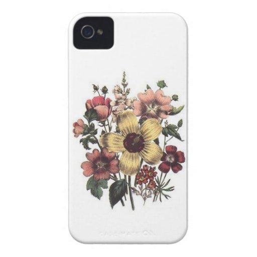Vintage Flowers Yellow Peach Cranberry Floral Case Case-Mate iPhone 4 Case