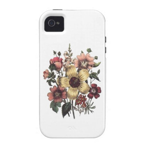 Vintage Flowers Yellow Peach Cranberry Floral Case Vibe iPhone 4 Cases