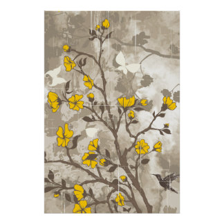 Vintage flowers yellow, taupe floral grunge custom poster