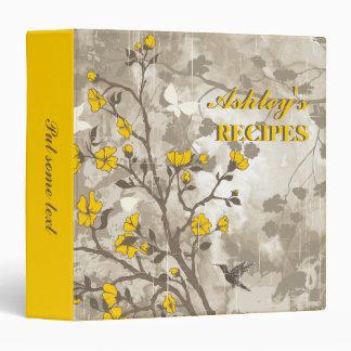 Vintage flowers yellow, taupe floral recipe 3 ring binder