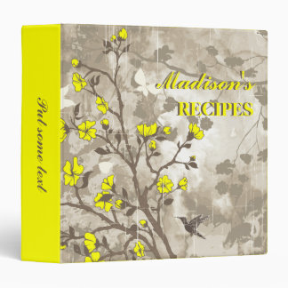 Vintage flowers yellow, taupe floral recipe binder