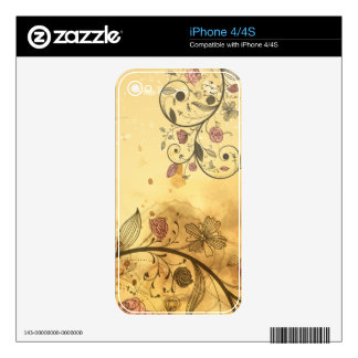Vintage Flowers  Zazzle Skin Decals For iPhone 4S